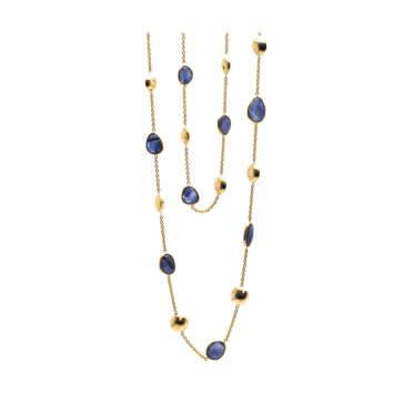 Tresor Collection - Blue Sapphire Long Station Necklace in 18k Yellow Gold