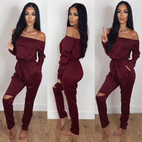 2016 Autumn Slash Neck Long Pants Jogging Suit Plus Size Women Rompers Jumpsuit One Piece Bodysuit LX220