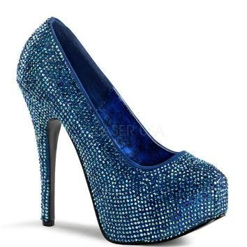 Teeze Blue Iridescent Rhinestone Platform Pump by Bordello Shoes