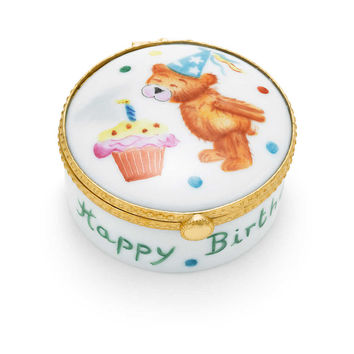 Tiffany & Co. - Happy Birthday box in hand-painted Limoges porcelain with bear and cupcake.