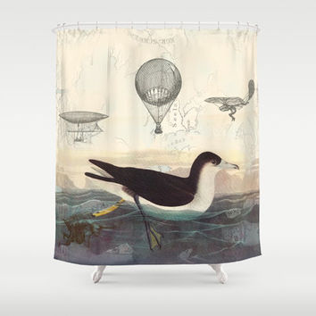 Steampunk Swimming Bird Shower Curtain - Vintage illustration fabric -, historical, beach, unique decor, wildlife, bathroom, flying machines