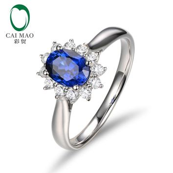CaiMao Natural Oval Shape Sapphire SI1 G-H Halo Diamond 14K White Gold Engagement Wedding Ring
