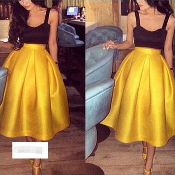 Vestidos Mujer Elegant Black and Yellow Tea Length Short Cocktail Dress with Spaghetti Straps Homecoming Dress Robe Cocktail