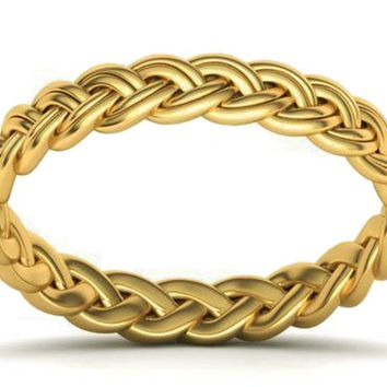Gold Braided Wedding band Twisted Band Rope Band Celtic Ring 14K Yellow Gold Wedding Ring Promise Band Ring Unique Wedding Gift