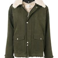 Saint Laurent Shearling Collar Jacket - Green Cotton Jacket