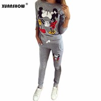 Women Casual Sportswear Lovely Printed Hoodies long-sleeved Suit Sportswear Sets
