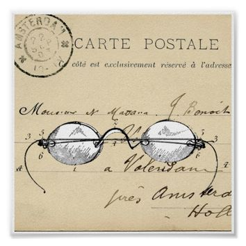 Vintage Eye Glasses French Postcard Art Print