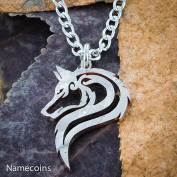 Lone Wolf Necklace, Hand cut single wolf coin jewelry by NameCoins