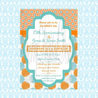 Printable Custom Orange and Teal Anniversary Invitation.  Turquoise and Teal Printable Anniversary Party Invitation.  Birthday, Reteirement