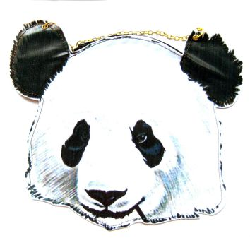 Panda Teddy Bear Shaped Vinyl Animal Themed Cross Shoulder Bag | DOTOLY