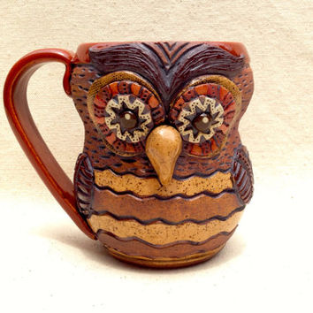 POTTERY OWL MUG ~ Stoneware Rustic Look ~ Handmade and Carved ~ Red, Sienna, Brown, Tan ~ Unique, Whimsical, Original, Ooak ~ Rustic, Earthy