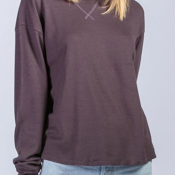 Karsen Knit Top in Plum Brown