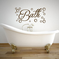 Bathroom decal - Bath with bubbles wall decal - Bathroom Wall Decal - Bathroom Wall Decor - Bathroom Decor - Wall Decals - Wall stickers