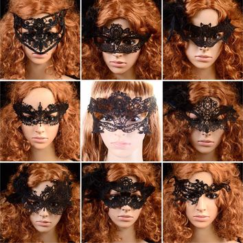 Hot Sale Beautiful Lady Black Sexy Lace Floral Eye Mask Venetian Masquerade Fancy Party Prom Dress Accessories for Halloween
