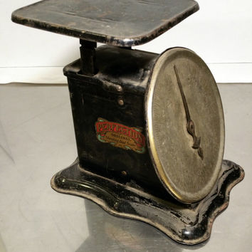 Antique Kitchen Scales Perfection 1906 Old Scales Black Rustic Kitchen Shabby Chic, Cottage Chic Country Farmhouse Decor