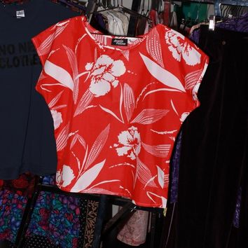 Red Tropical Box Blouse / S M L