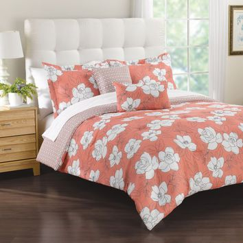 Margaux 5-Piece Comforter Set in Coral