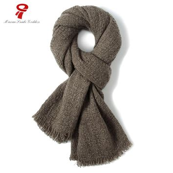 scarf men scarf yak Cashmere Long thicken warm retro fashion classic Solid Scarf male winter British style scarf for men