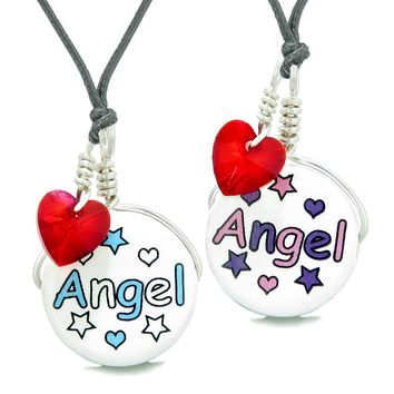Love Couples or BFF Set Cute Ceramic Aqua Pink Angel Lucky Charms Red Hearts Amulet Adjustable Necklaces