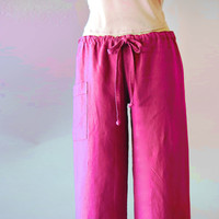 Linen Drawstring Pants in Cabaret Magenta with Low by BajaSoul