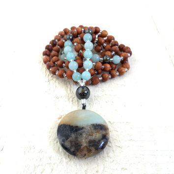 Boho Chic Gemstone Necklace, Wood Beaded Bohemian Necklace, Mala Bead Necklace, Gypsy Inspired Jewelry, Long Layering Necklace, Yoga Jewelry