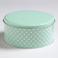 MINT DOTS ROUND TIN mint kitchen canister