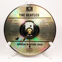 CD Clock, Desk Clock, Wall Clock, Beatles Tour, Recycled Music Compact Disc, Upcycle, Battery, Wall Hanger & Stand ALL INCLUDED