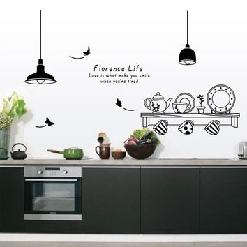 60*90CM florence life removable wall stickers kitchen tea cup cupboard decorative stickers wall murals