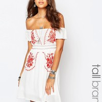Glamorous Tall Off The Shoulder Embroidered Folk Dress