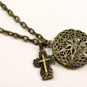 Aromatherapy Necklace - Beautiful Filigree Locket and Cross in Antique Brass