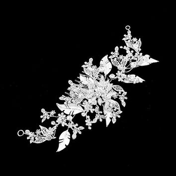 Ornate Floral Leaf & Vine Crystal Garland Cluster Hair Comb