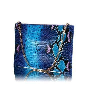 Brand New, small blue Wonders Clutch Bag from Oriflame with mock snake skin | eBay