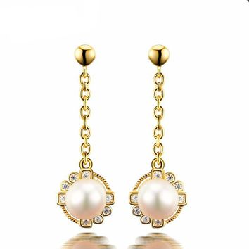 Genuine Natural Freshwater Pearls Moissanite Diamond Drop Earrings 14k 585 Yellow Gold Tassels Earrings For Women