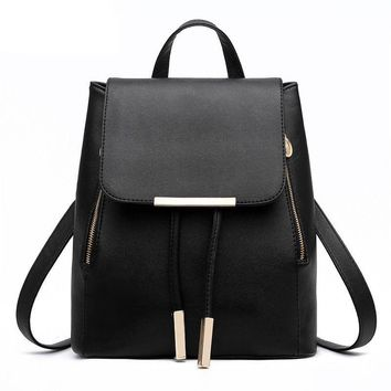 Hanup New Designer Women Backpack For Teens Girls Preppy Style School Bag PU Leather Backpack Ladies High Quality Black Rucksack