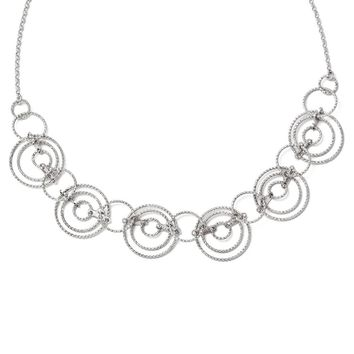Leslies Sterling Silver Laser-cut Link Necklace with 2in ext