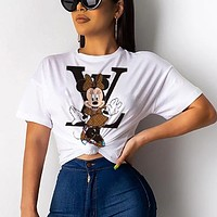 LV Louis Vuitton x Disney Women Casual Mickey Mouse Print Short Sleeve T-Shirt Top Blouse