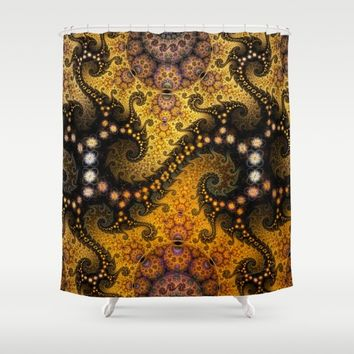 Golden dragon spirals and circles, fractal art Shower Curtain by thea walstra