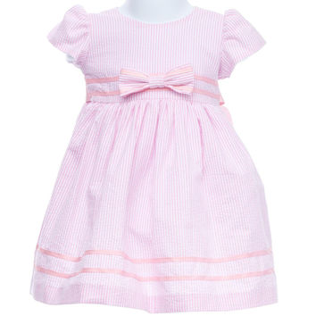 Boutique Alert! Stunning Pink Seersucker Baby Dress