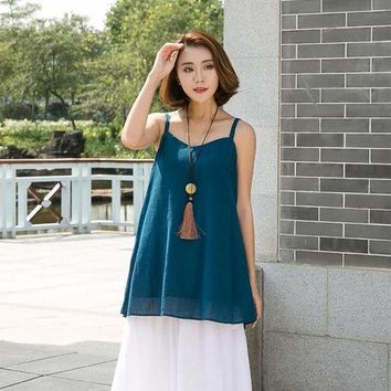 PEAPGB2 New 2016 summer women solidc olors Tanks & camis Sleeveless loose halter tops & tees for fema 86206