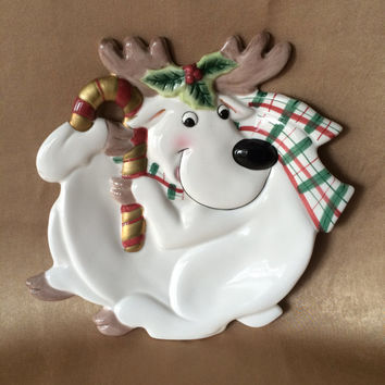 Fitz and Floyd Plate, Holiday Reindeer, Canapes or Cookies, Vintage Serving, Cookies for Santa, Original Box, Christmas Reindeer