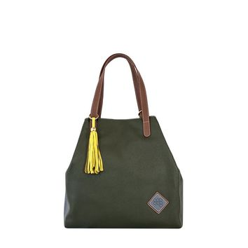 Jester Leather Handbag-Gray / Olive Green