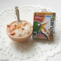 Handmade miniature polymer clay food jewelry - Breakfast milk with corn flakes earrings