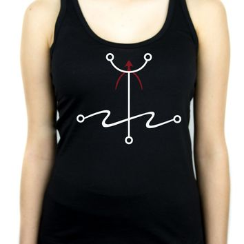 Mark of The Atheist Alchemy Symbol Racer Back Tank Top Shirt Humanist Freethinker Alternative Clothing