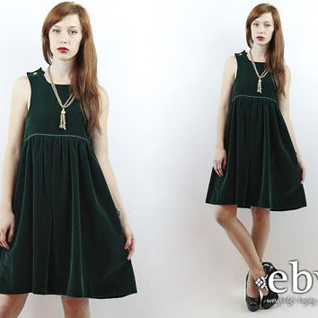 Vintage 70s Hunter Green Velvet Babydoll Dress XS S Velvet Mini Dress Christmas Dress Holiday Dress Green Velvet Dress Cocktail Dress