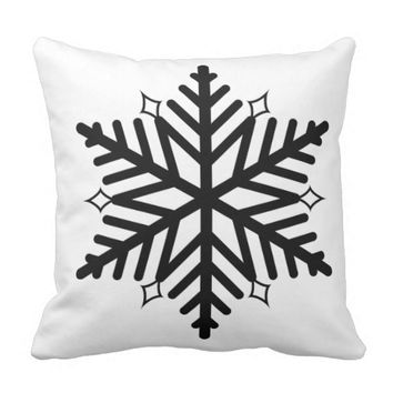 Black Central Snowflake White Accent Pillow