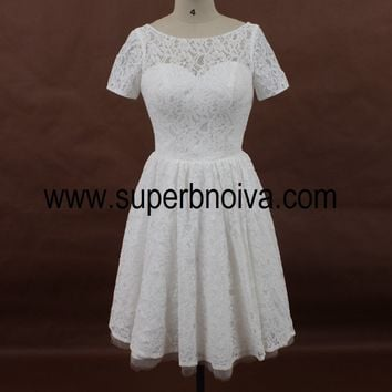A-line Short Lace Wedding Dress, Real Photo Wedding Reception Bridal Dress BDS0066