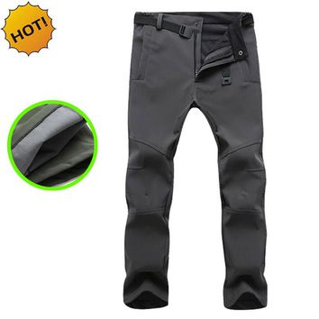 HOT 2017 Outdoors Winter Thicken Polar Fleece Thelmal Slim Fit Soft Shell Camo Tactical Waterproof warm Pants Men Solid Trousers