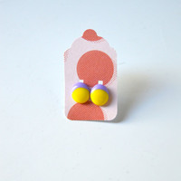 Stud Earrings - Yellow and Pastel Lavender Stud Earrings - Tiny Stud Earrings - Post Earrings - Colorful Earrings - Handmade Enamel  Studs