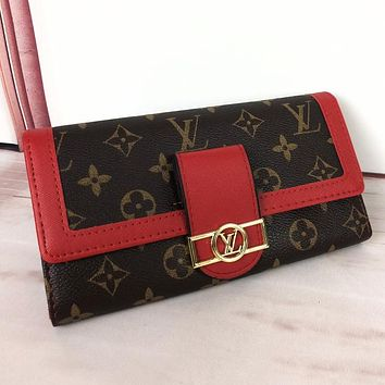 LV Hot Sale Fashionable Women Shopping Leather Wallet Purse Red