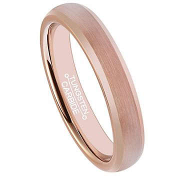 4mm Wedding Band Rose Gold Brushed Center Tungsten Carbide Ring (14k, 18k Rose Gold)
